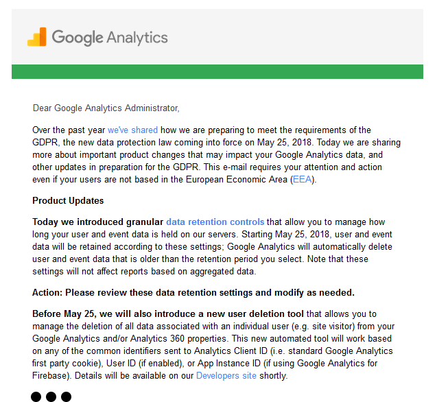 Google Analytics Data Deletion Announcement