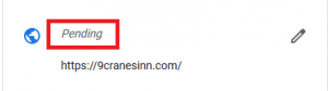 Screencap of Pendikng business name in Google My Business