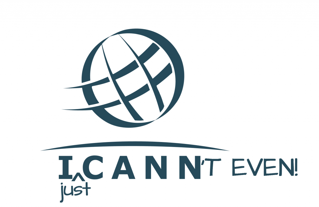 Logo with a circle with lines in it, the word ICANN