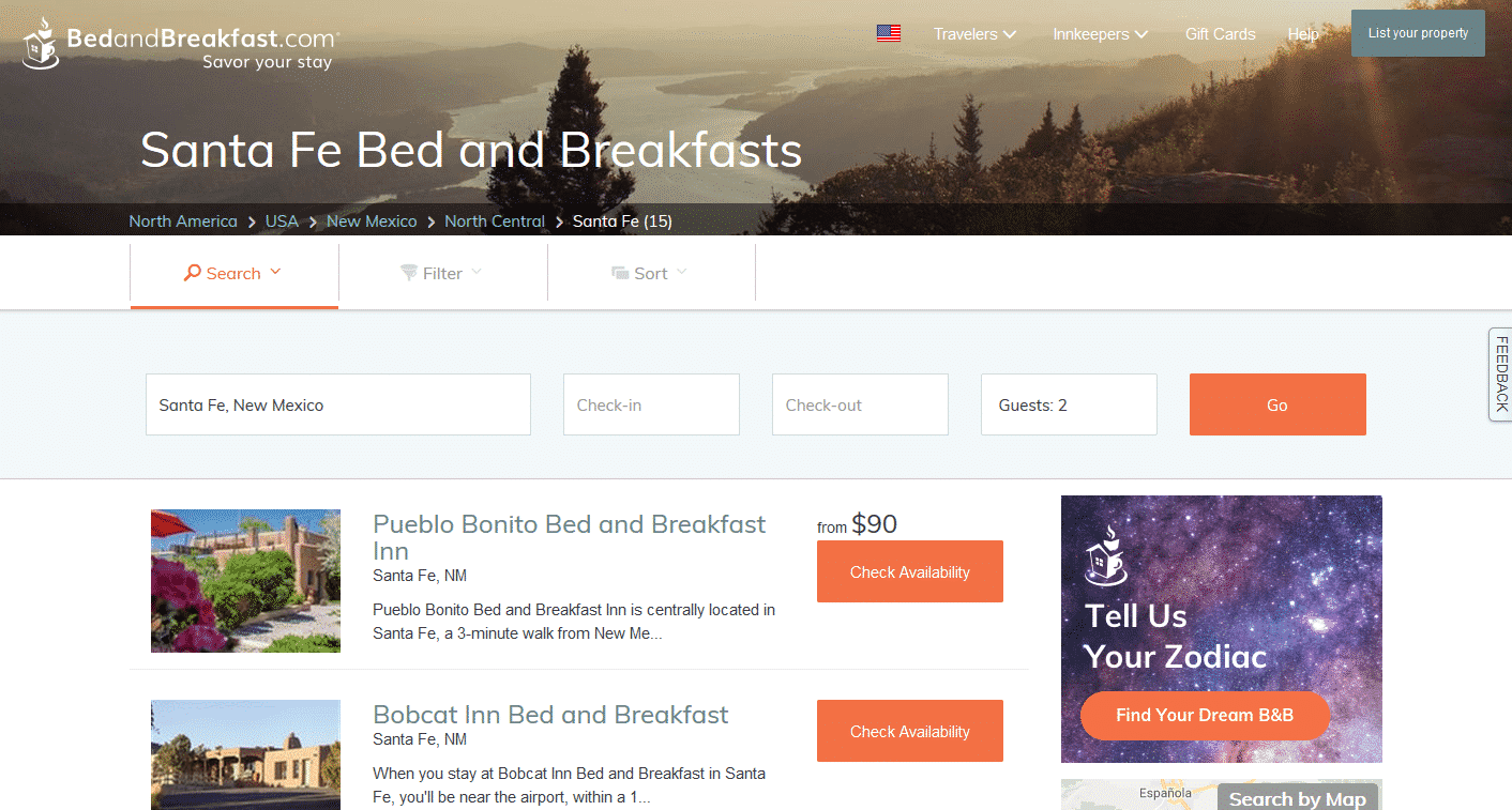 Screenshot of Santa Fe page on bedandbreakfastdotcom