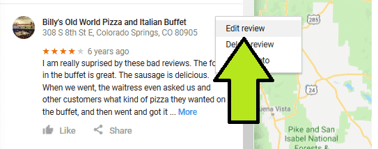 google review screencap:  click Edit Review
