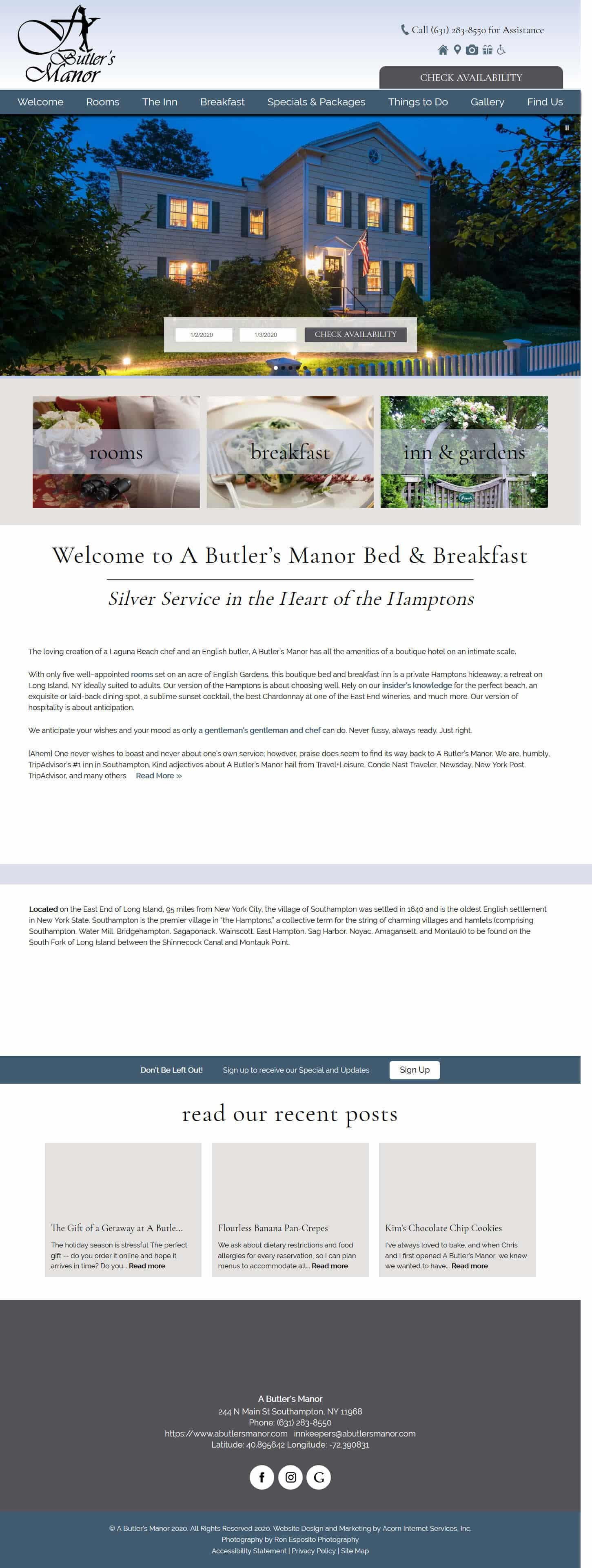 Home page screenshot of A Butler's Manor - Deluxe design by Acorn IS