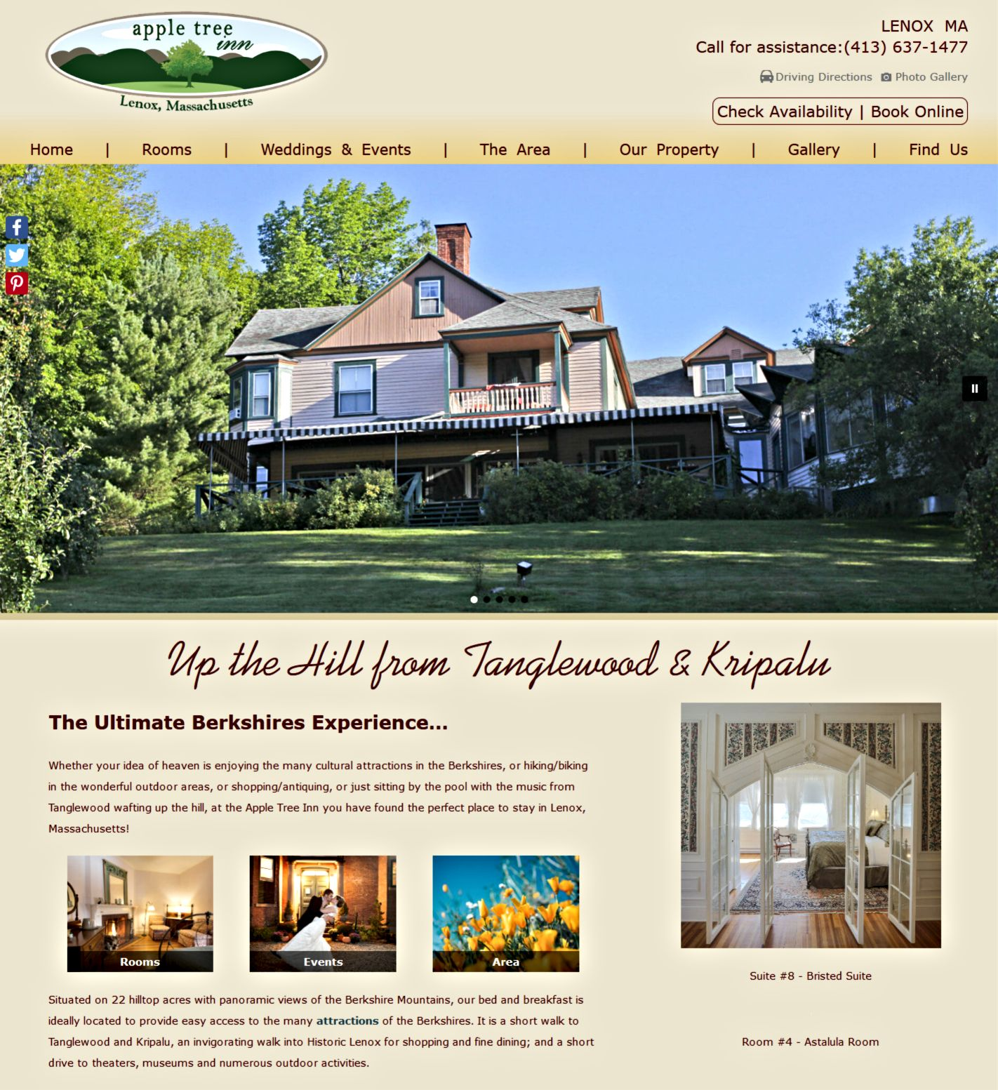 Apple Tree Inn's website home page