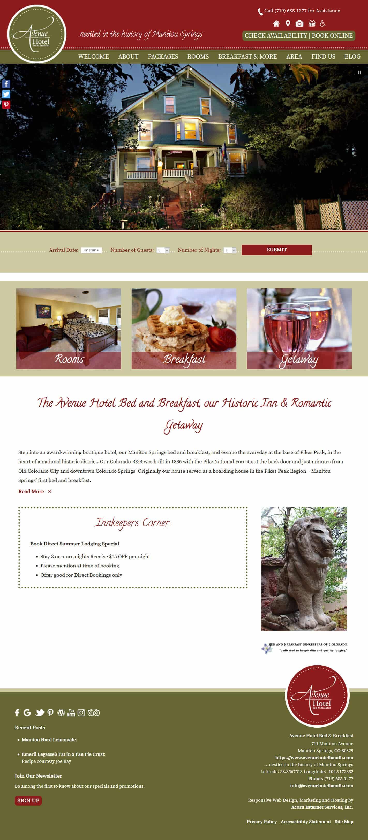 Avenue Hotel Bed & Breakfast website home page