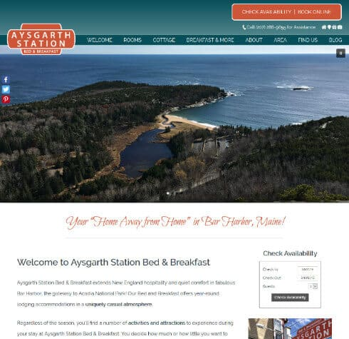 Screenshot of Aysgarth Station Bed and Breakfast website home page