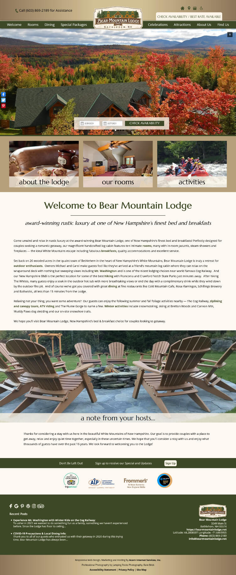 Home page screen cap of Bear Mountain Lodge