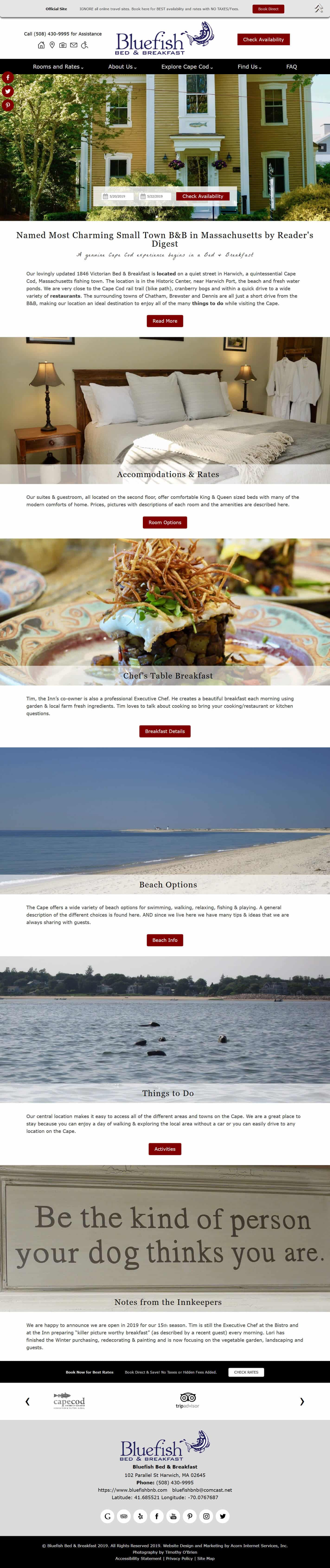 Bluefish Bed & Breakfast website design