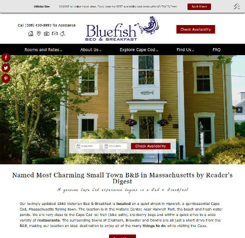 Bluefish Bed & Breakfast website home page screencap