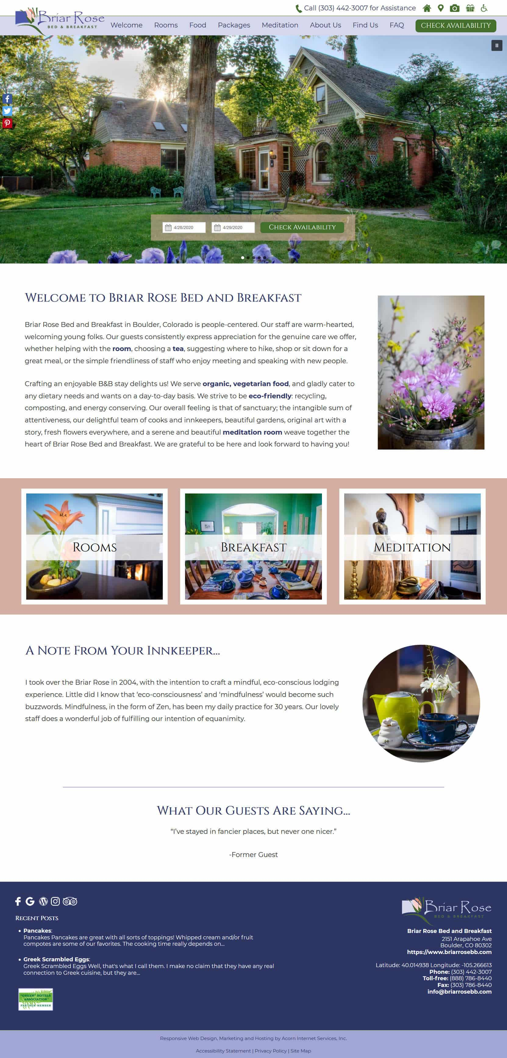 Screenshot of the home page of Briar Rose Bed and Breakfast