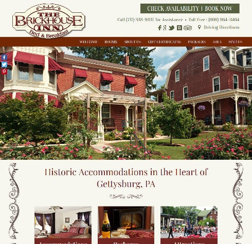 Brickhouse Inn Bed Breakfast - screenshot of an Acorn Deluxe Design website