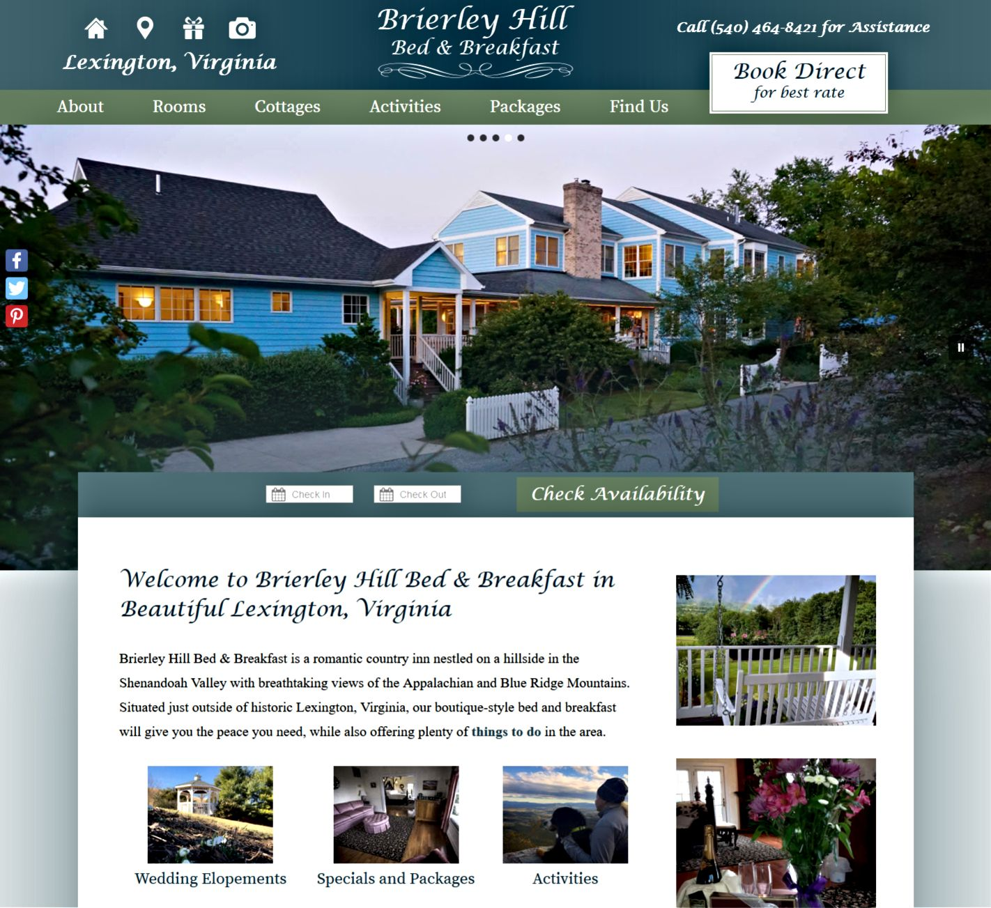 Brierly Hill Bed & Breakfast website screencap