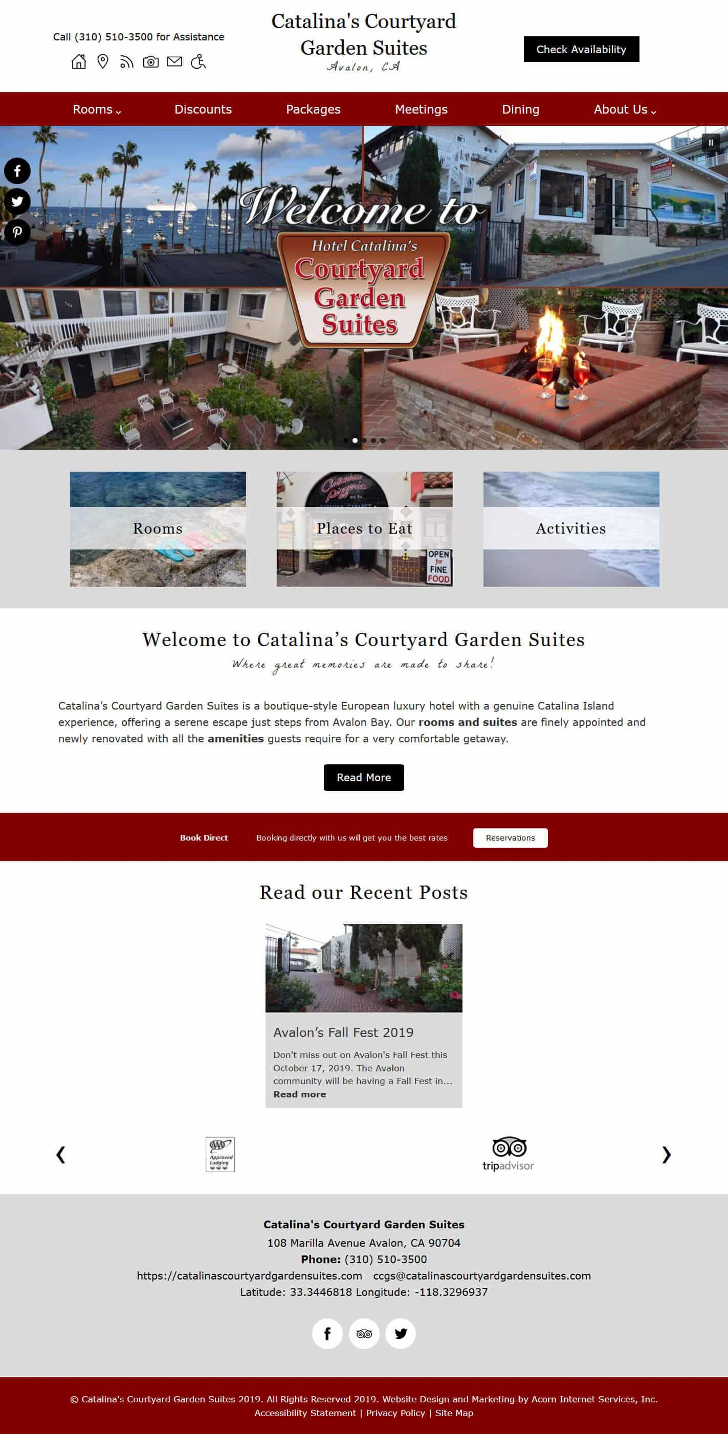 Home page screenshot of Catalina's Courtyard Garden Suites - standard