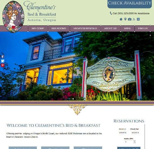 Screenshot of home page for Clementine's Bed Breakfast