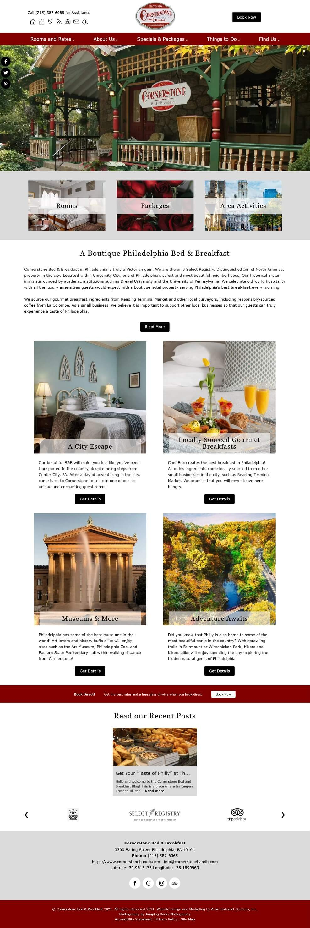 Cornerstone Bed and Breakfast home page