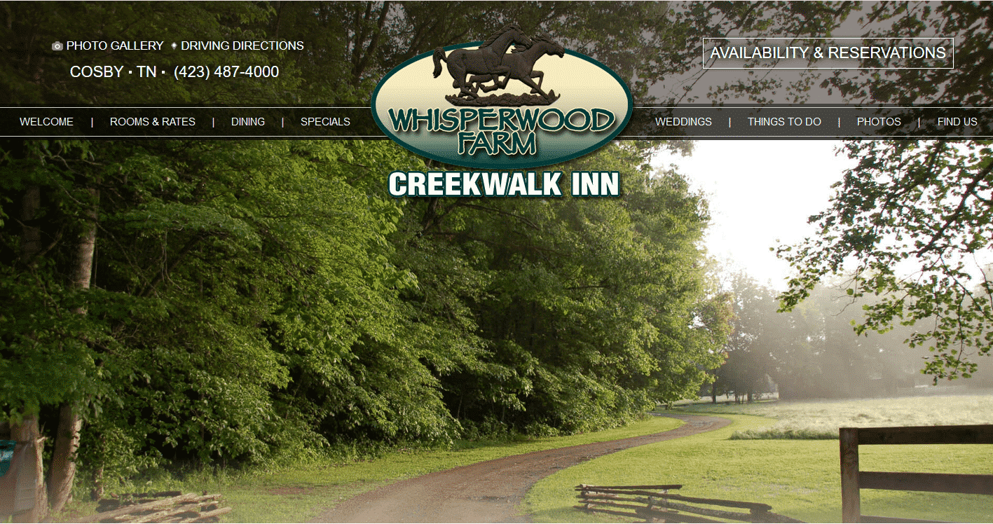 Screenshot of website home page for Creekwalk Inn in Gatlinburg, TN