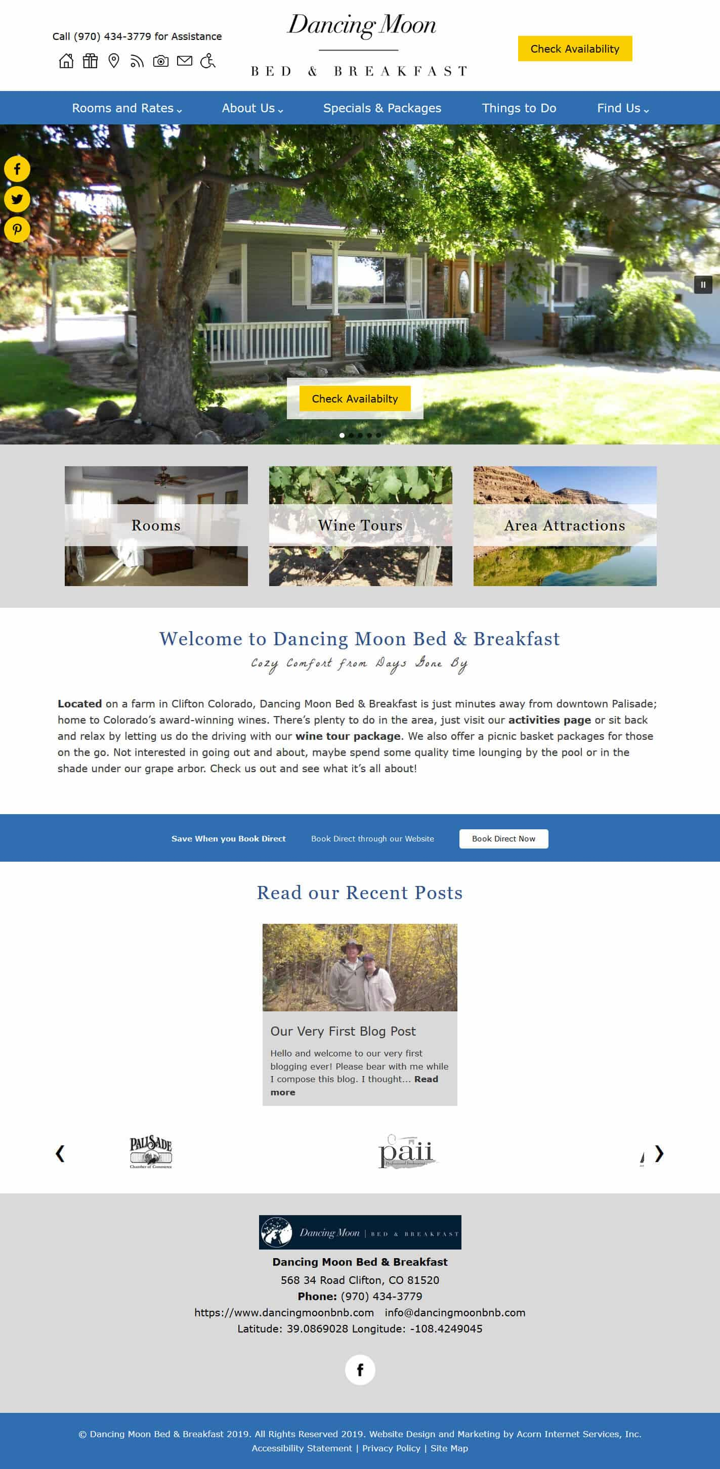 Dancing Moon Bed and Breakfast website home page