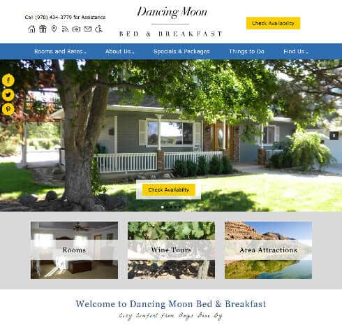 Scrrenshot of Dancing Moon Bed and Breakfast home page
