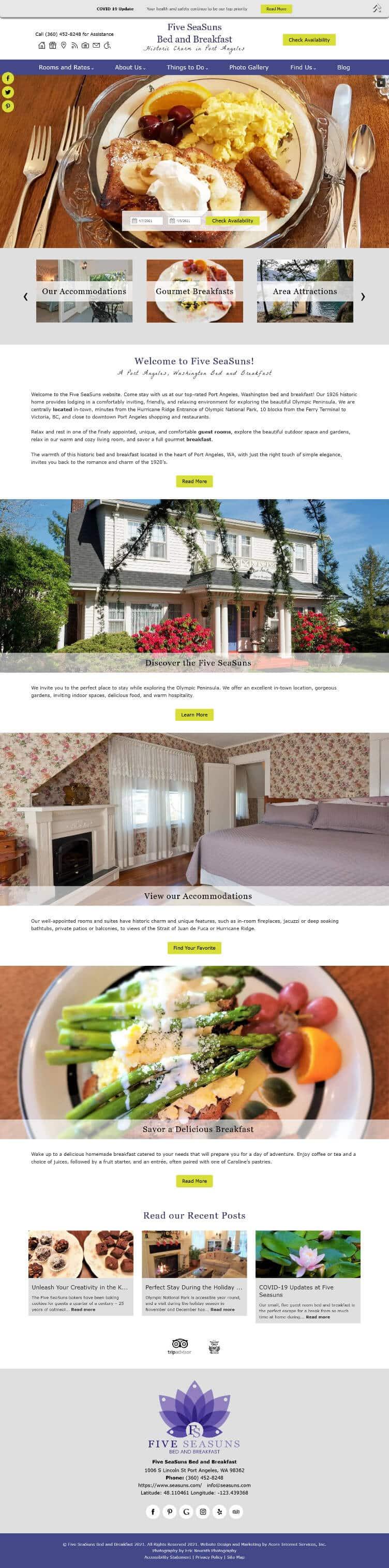 Home page screen shot of Five Seasuns
