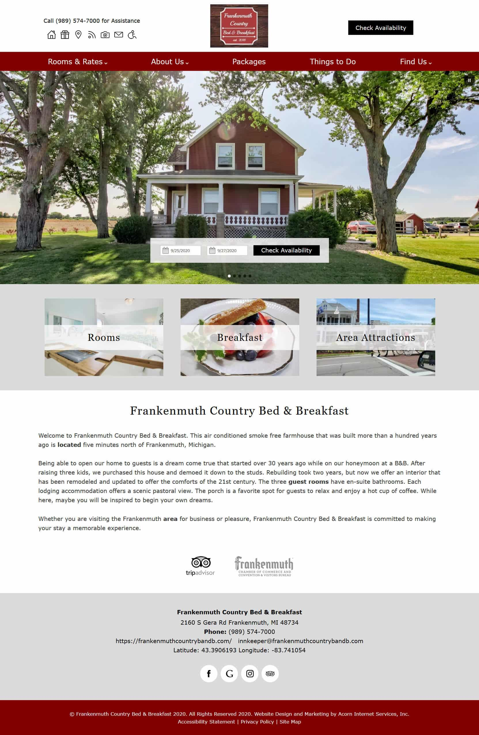 Screencap of new website for Frankenmuth Country Bed Breakfast