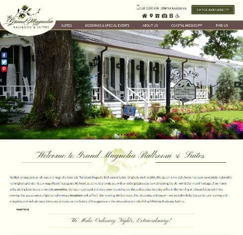 Grand Magnolia Ballroom Suites -Deluxe website design
