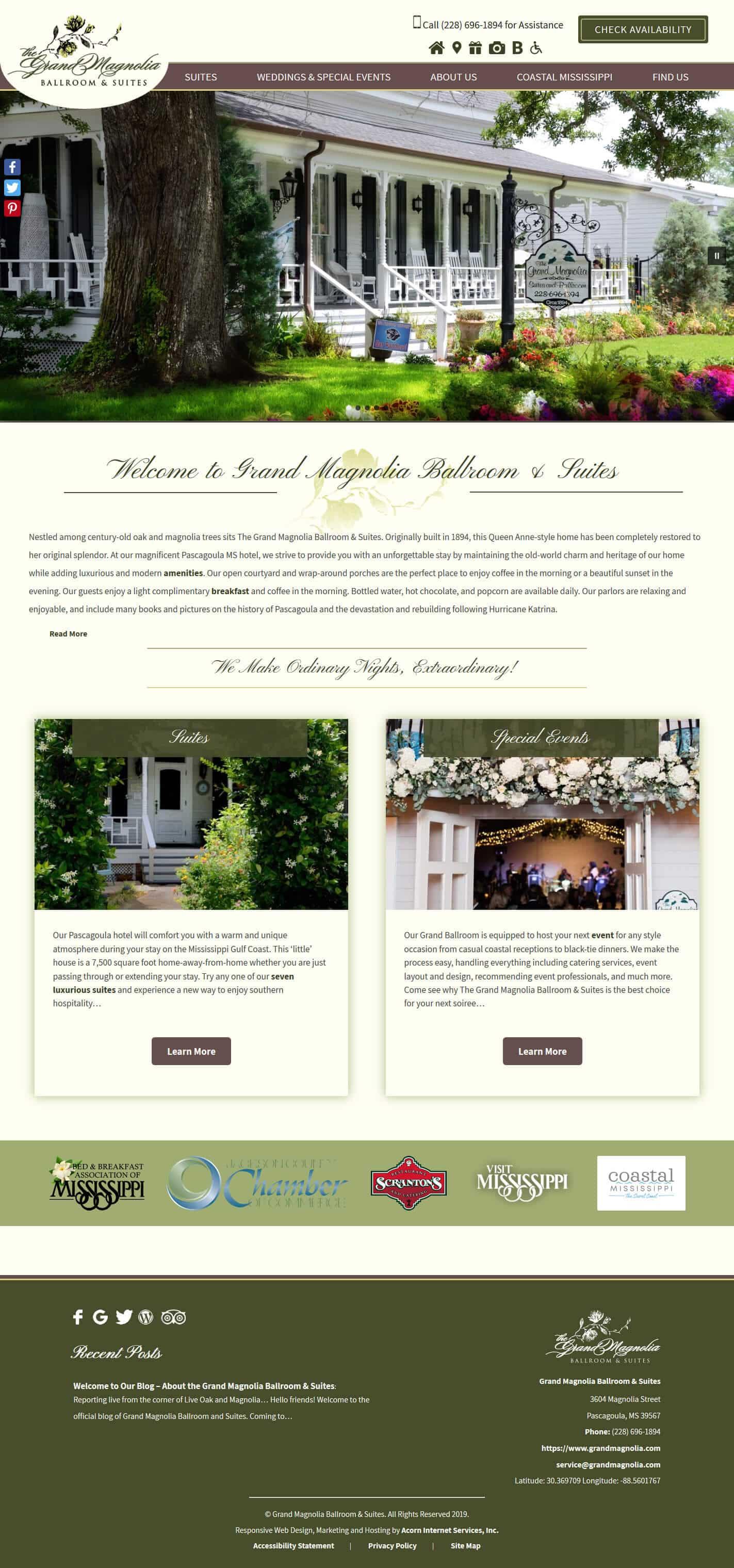 Grand Magnolia Ballroom & Suites website home page