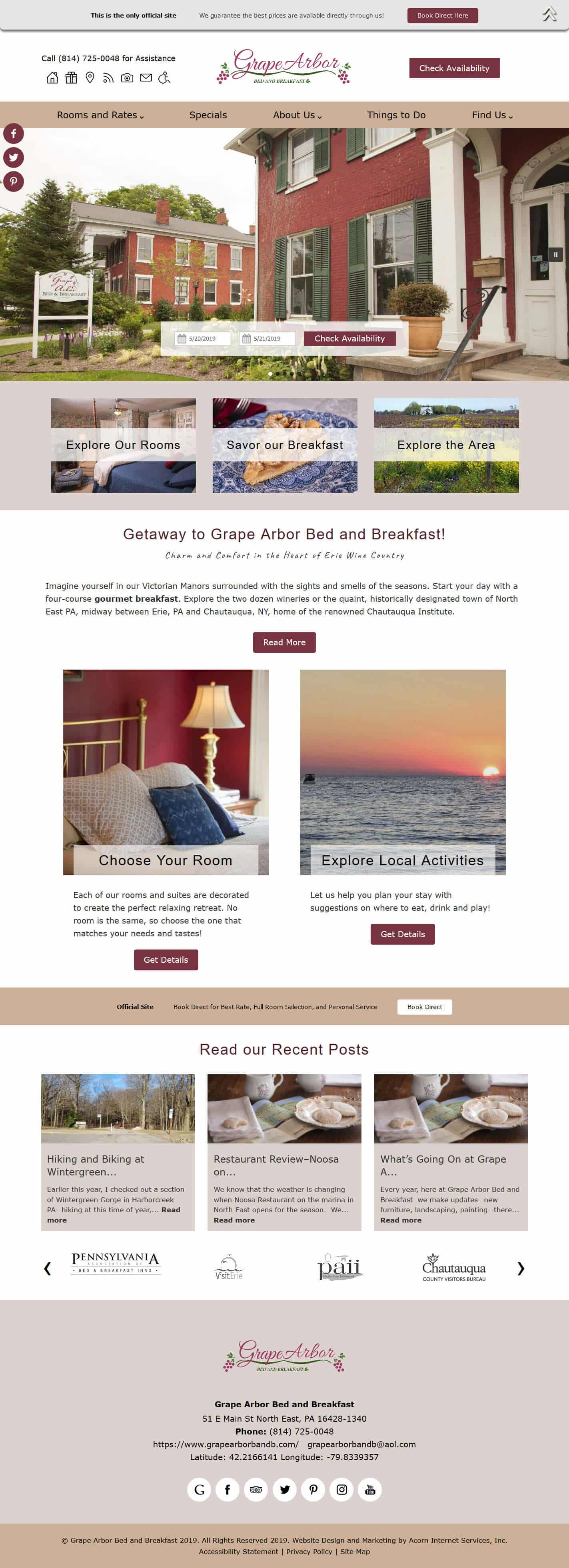 Grape Arbor Bed and Breakfast website home page