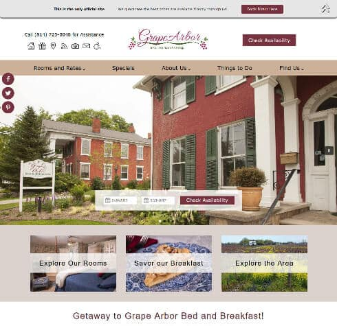 Grape Arbor Bed and Breakfast - screenshot of an Acorn Standard Design website