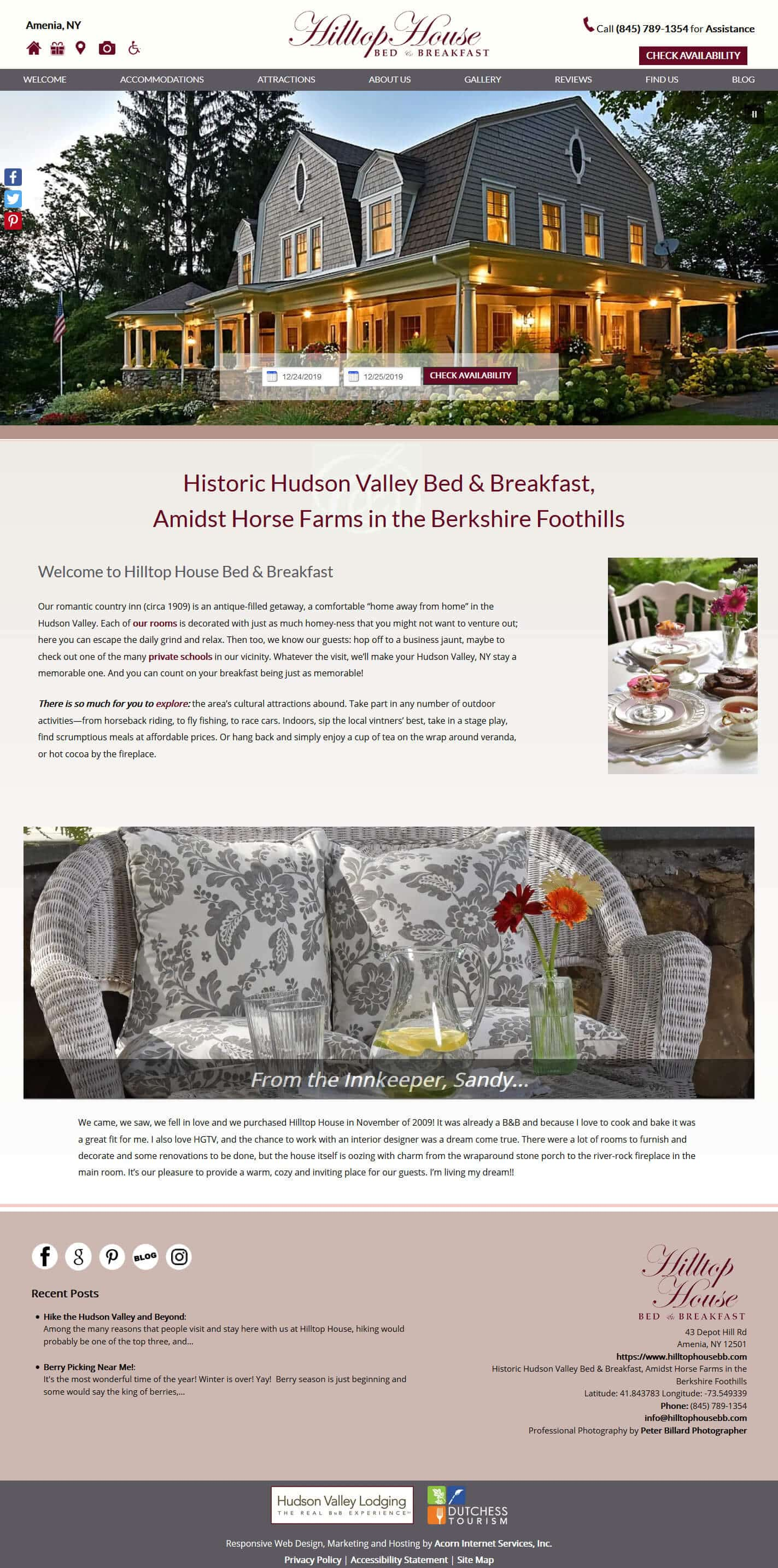 Home page screenshot of Hilltop House Bed Breakfast - Deluxe
