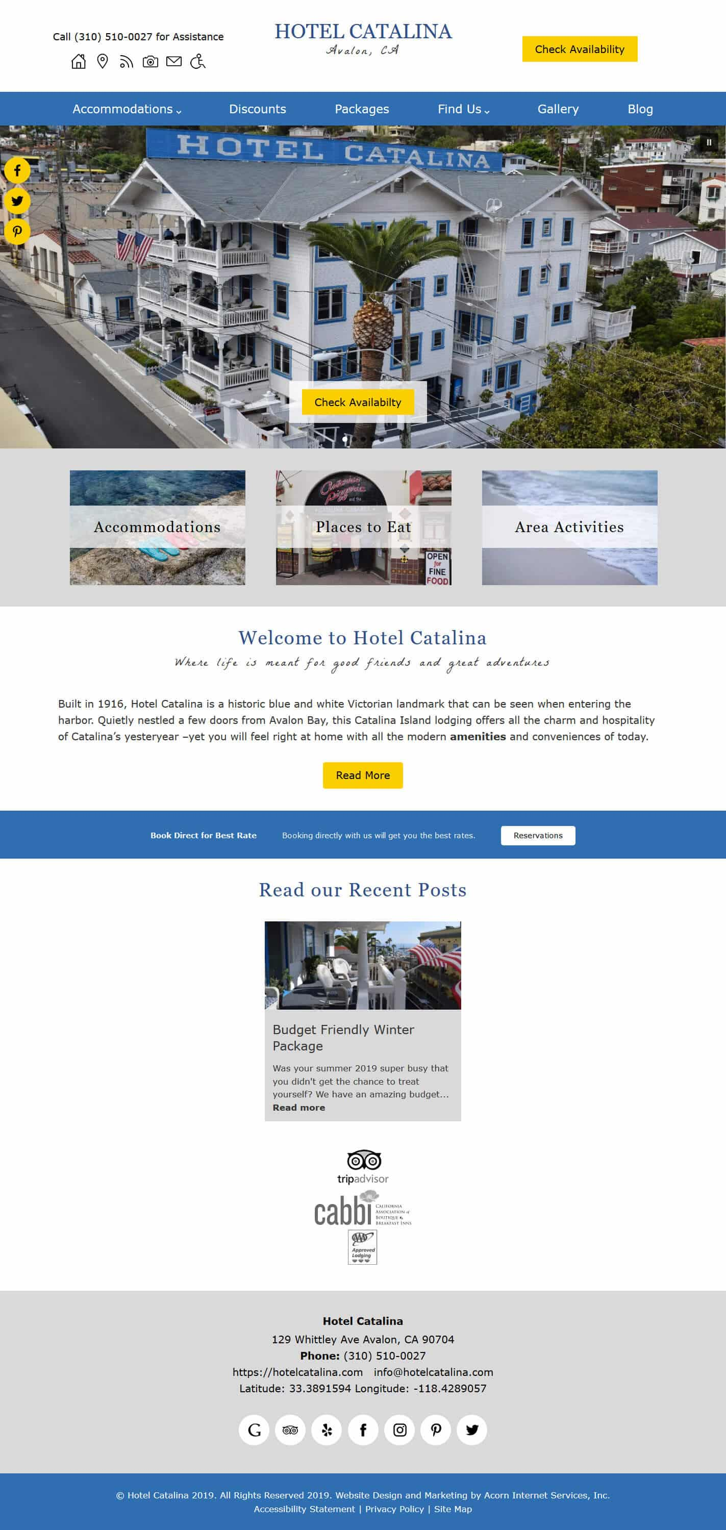 Home page screenshot of Hotel Catalina -Standard
