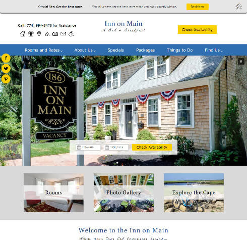 Screenshot of home page for Inn on Main