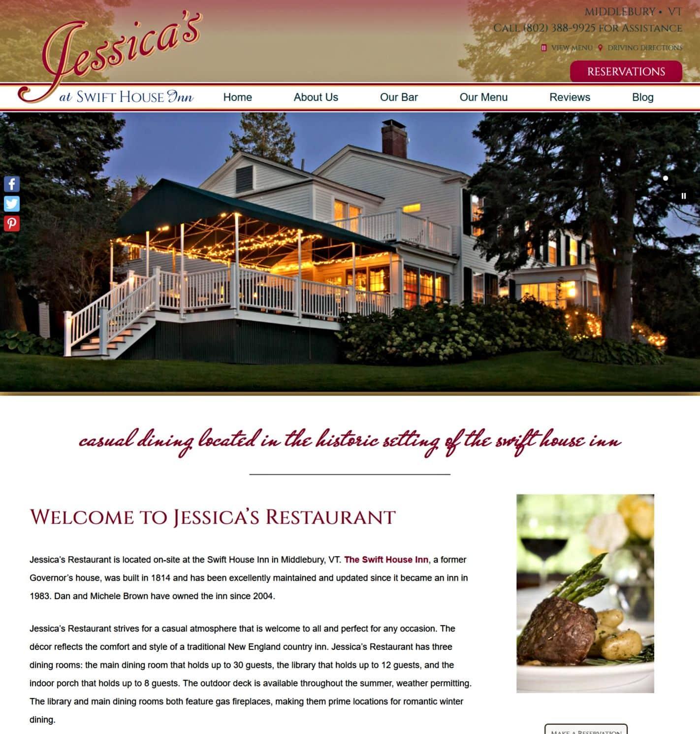 Jessica's Restaurant website home page screenshot