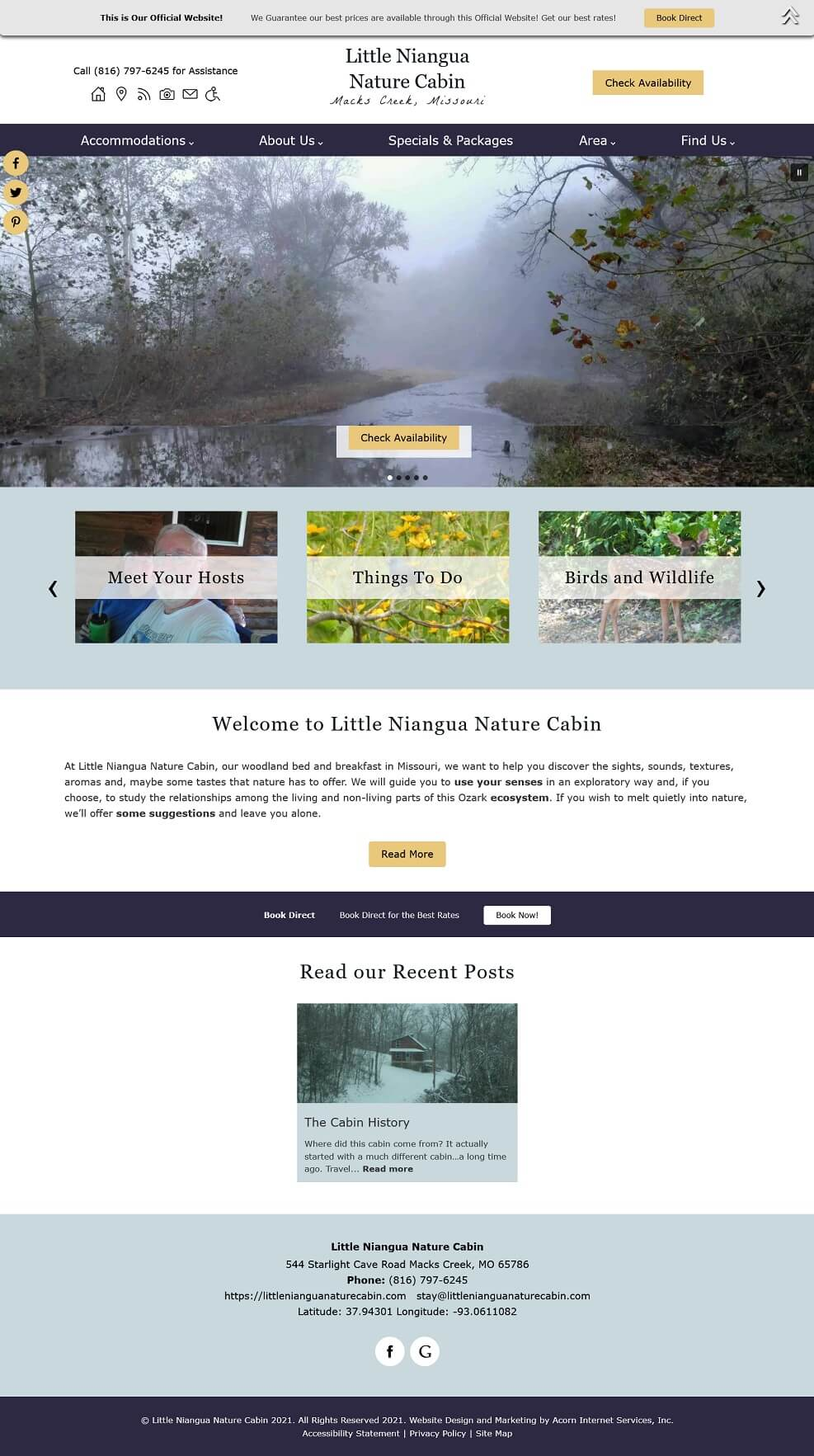 Home page screencap of Little Niangua Nature Cabin