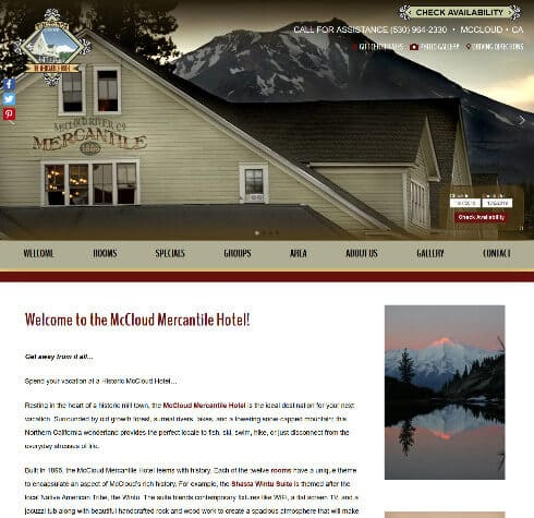 Screenshot of home page for McCloud River Mercantile Hotel