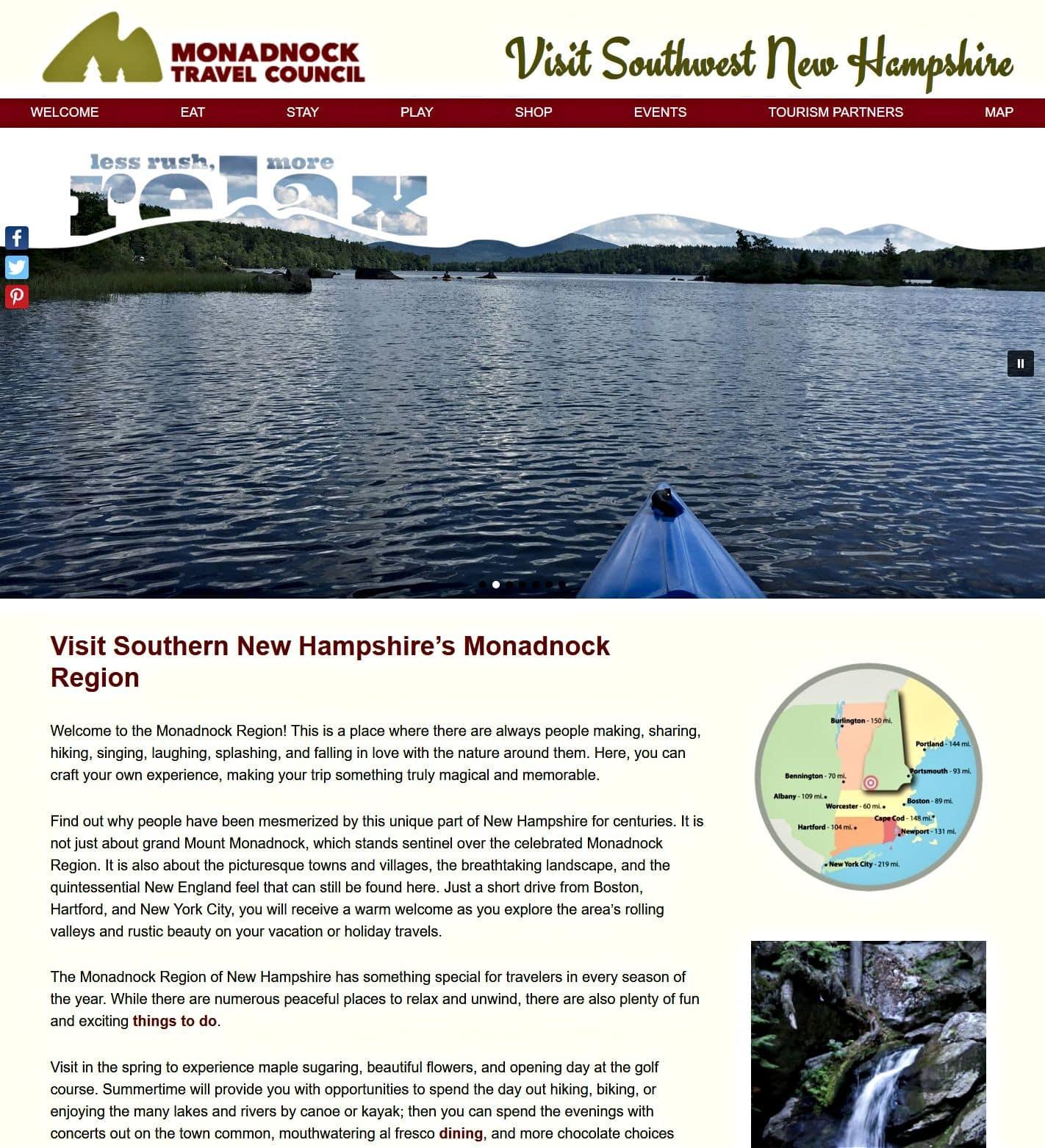 Monadnock Travel Council homepage screenshot