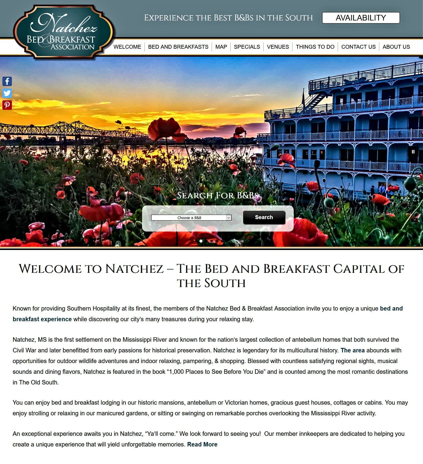 Home page screenshot of Natchez Bed and Breakfast Associaiton's website