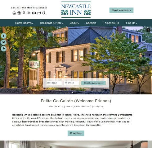 Newcastle Inn - Standard website by Acorn Internet Services - Screenshot