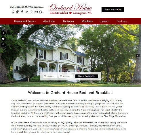 Screenshot of home page of Orchard House Bed and Breakfast