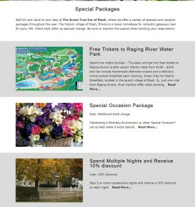 Exaple of a specials and packages page from a B&B website