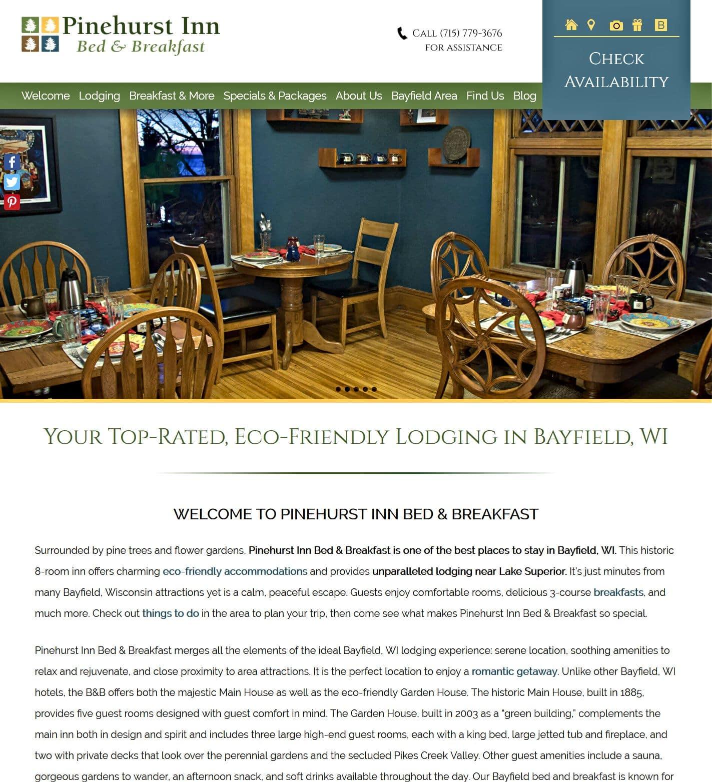 Pinehurst Inn Bed & Breakfats website home page