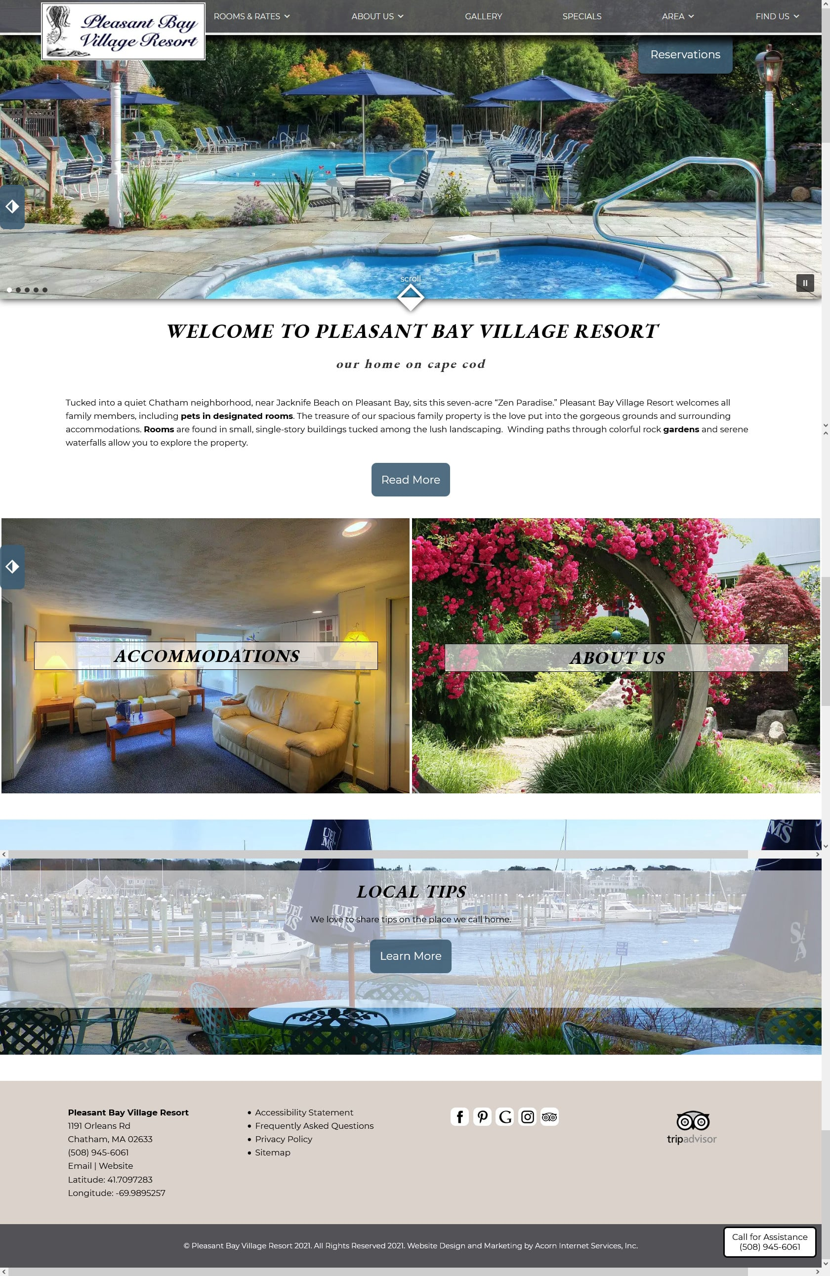 Main home page of Pleasant Bay Village Resort in MA
