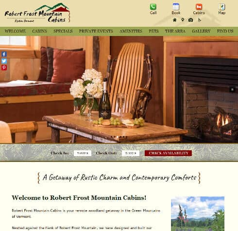 Robert Frost Mountain Cabins - Deluxe website by Acorn IS