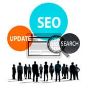 SEO Update Image with people looking at a browser flowting in the air