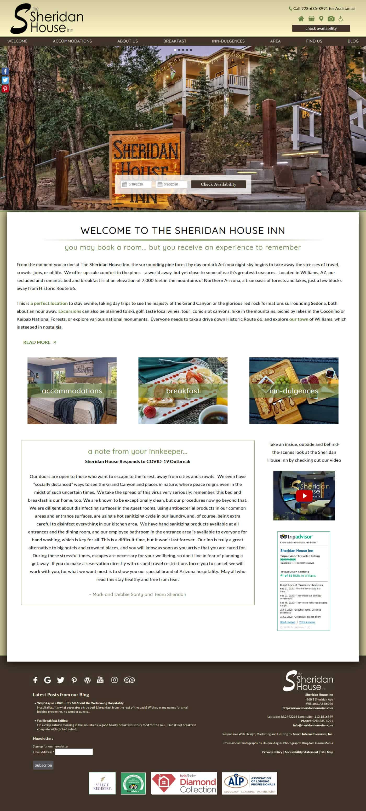 Screenshot of the home page of Sheridan House Inn