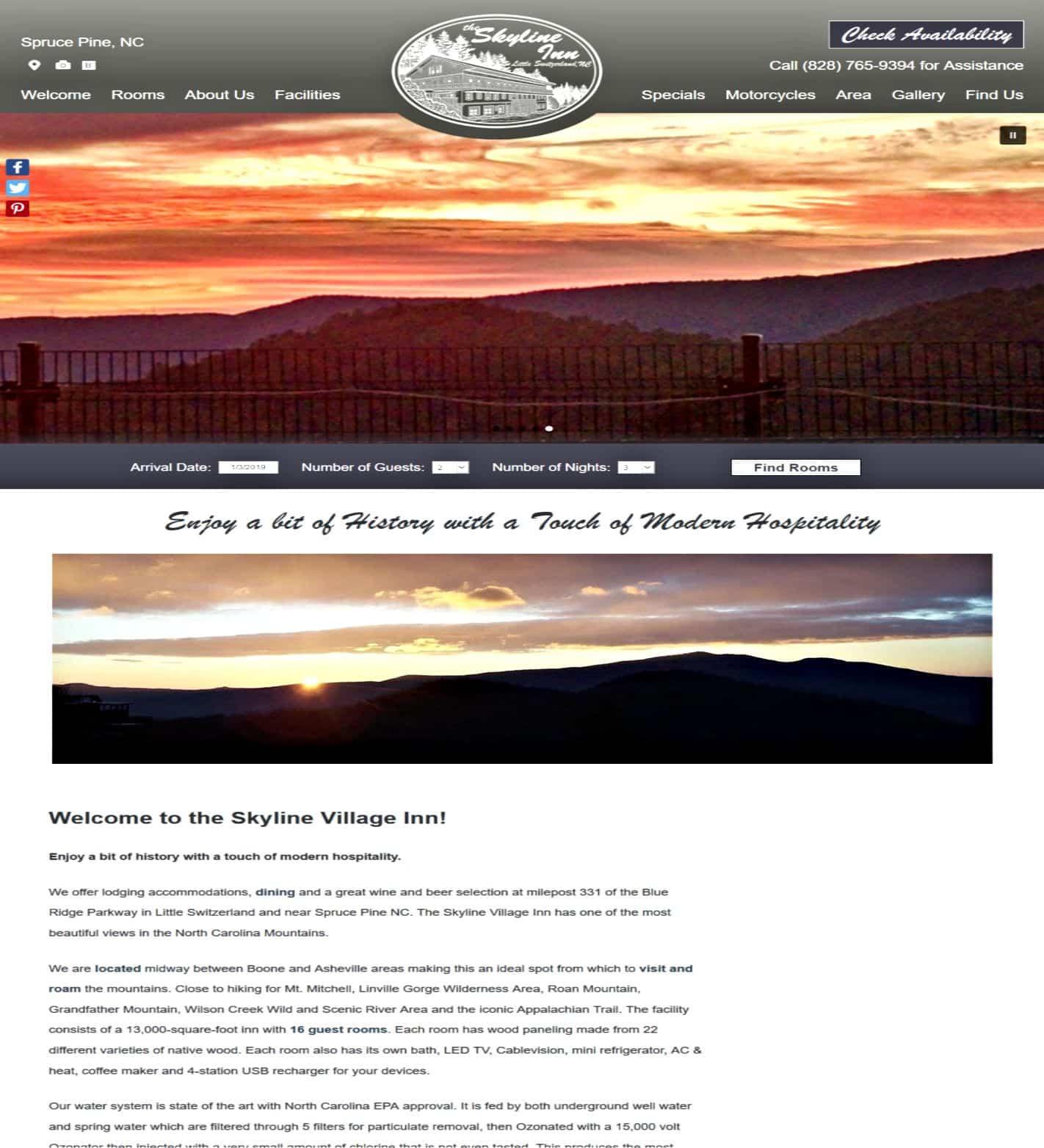 Skyline Village Inn website home page
