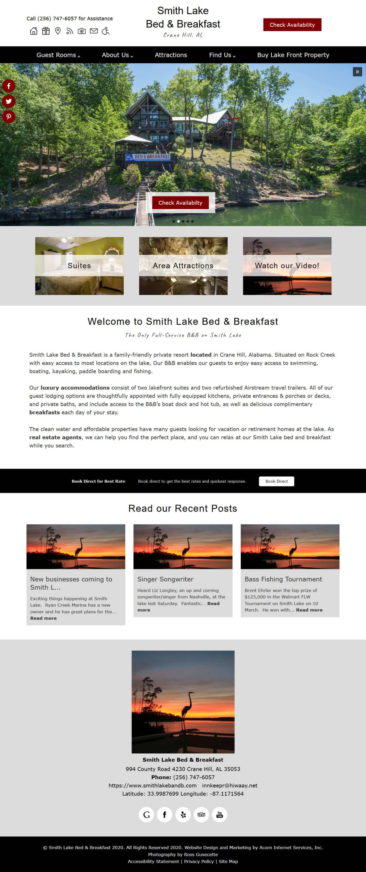Screenshot of the home page of Smith Lake Bed & Breakfast
