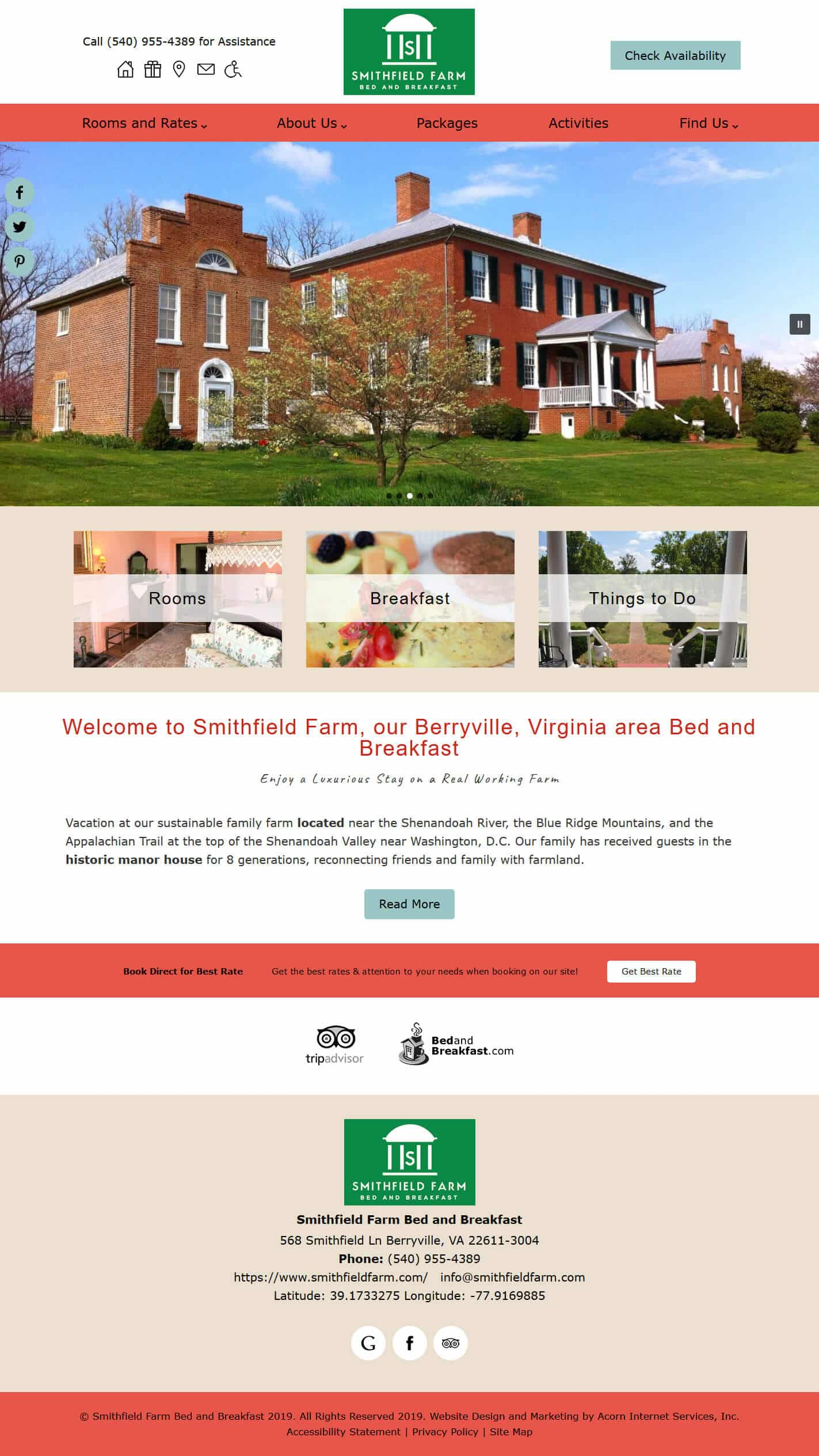Smithfield Farm Bed and Breakfast website home page