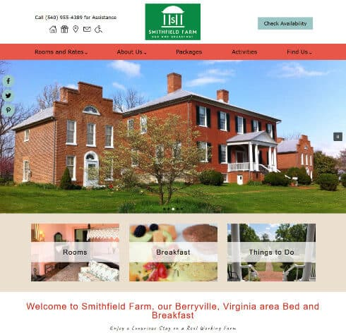 Smithfield Farm Bed and Breakfast ome Page Scrrenshop- example of Acorn Standard Design