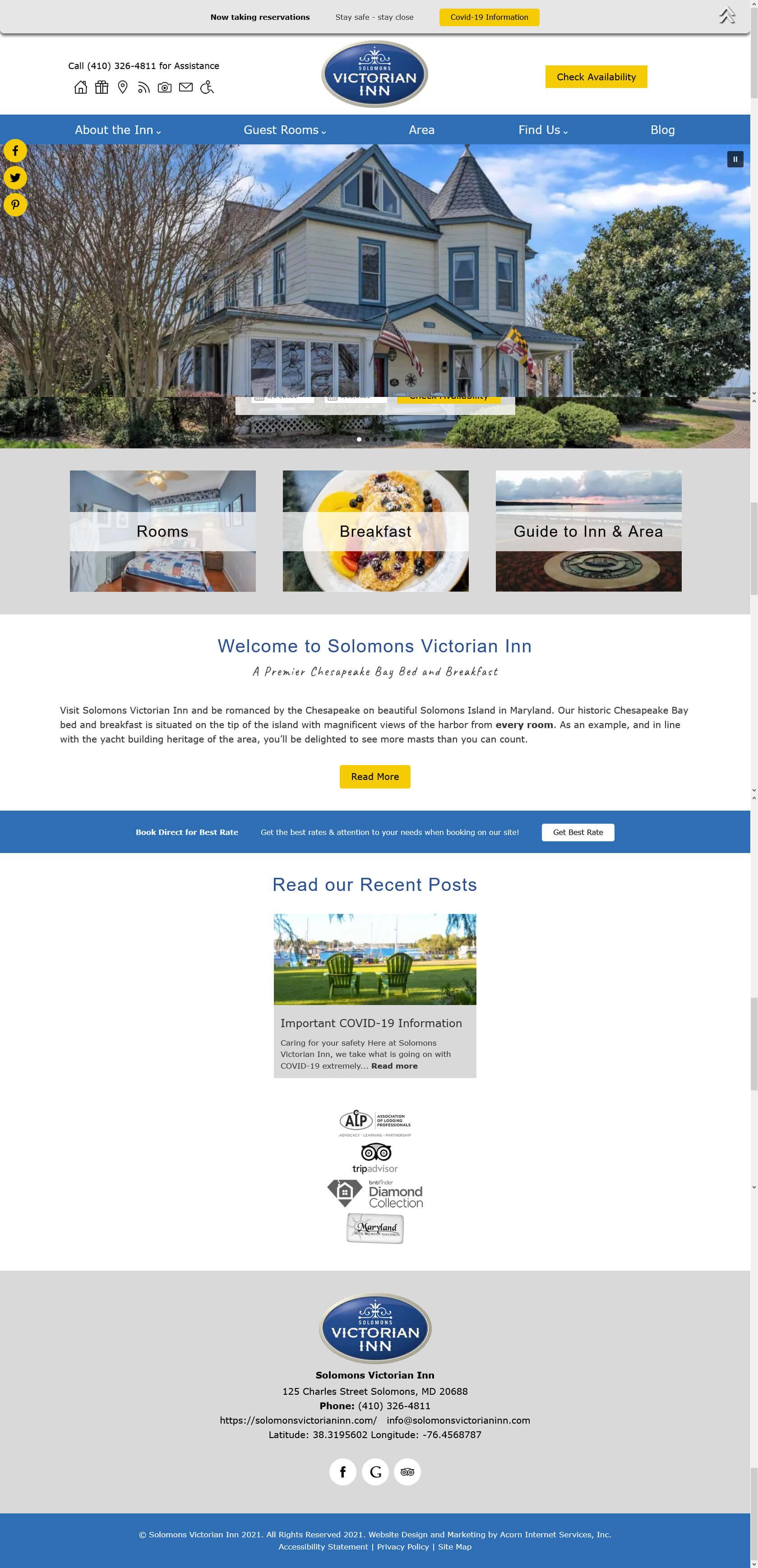Home page screenshot of Solomons Victorian Inn