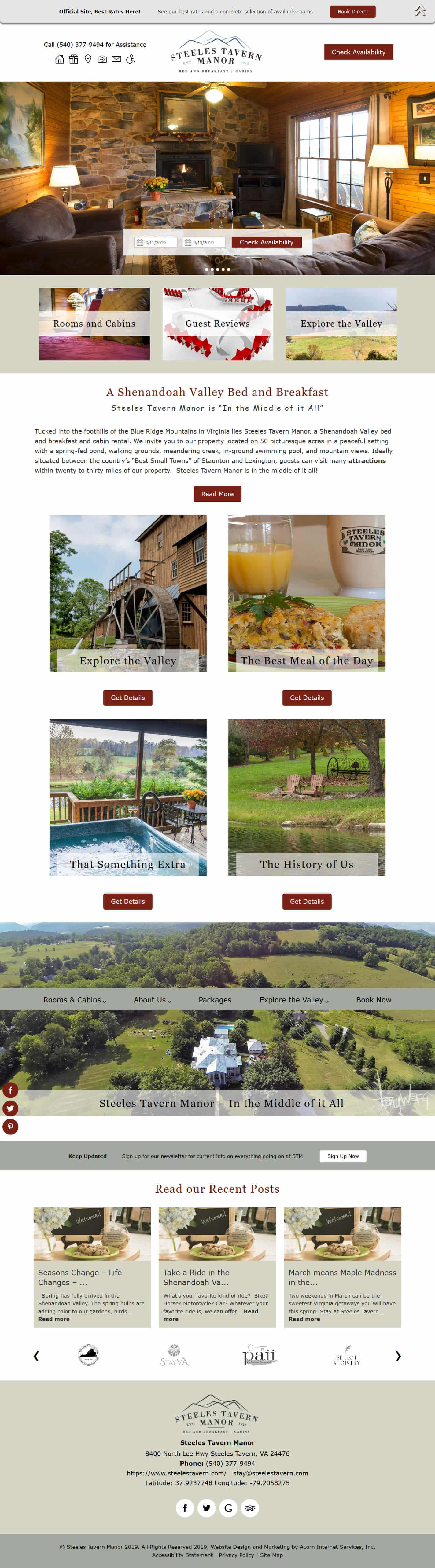 Steeles Tavern Manor website home page