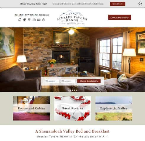 Steeles Tavern Manor Home Page Scrrenshop- example of Acorn Standard Design